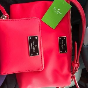 KaTe SpAdE nylon red crossbody AND matching Wallet